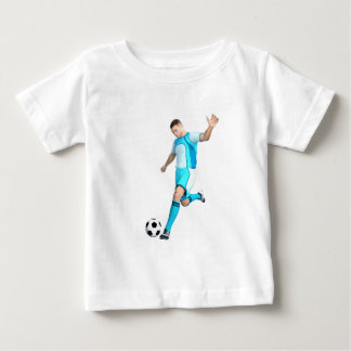Soccer Player in Aqua and White Baby T-Shirt
