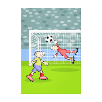 Soccer player kicks to the arc and the doorman canvas print