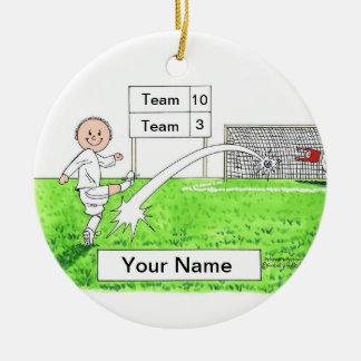 Soccer Player - Male, White Uniform Ceramic Ornament