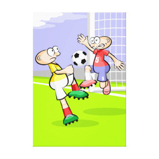 Soccer player marking in the area of the arc canvas print