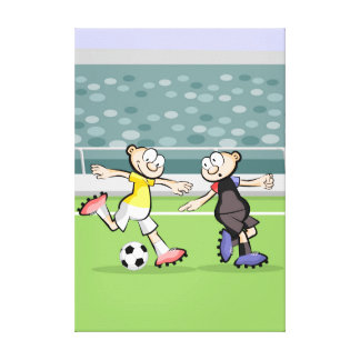 Soccer player marking its opponent canvas print