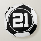 Soccer Player Number 21 Sports Ball Gift Round Pillow