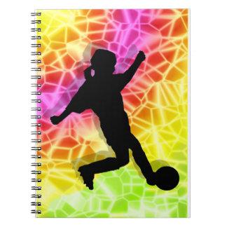 Soccer Player on Fluorescent Mosaic Notebooks