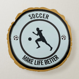 Soccer Player Round Pillow