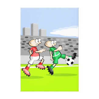 Soccer player running and dominating the ball canvas print