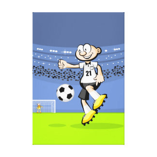 Soccer player showing its ability canvas print