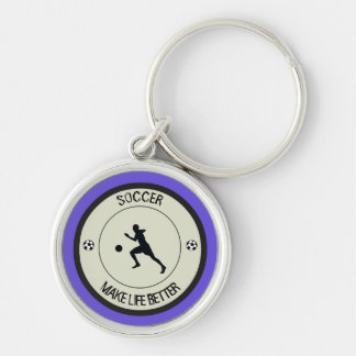 Soccer Player Silver-Colored Round Keychain