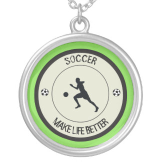 Soccer Player Silver Plated Necklace