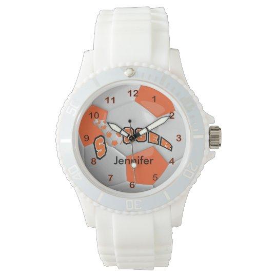 Soccer Player Sporty Orange Soccer Ball Wrist Watches