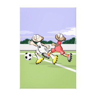 Soccer player takes the advantage with impetus canvas print