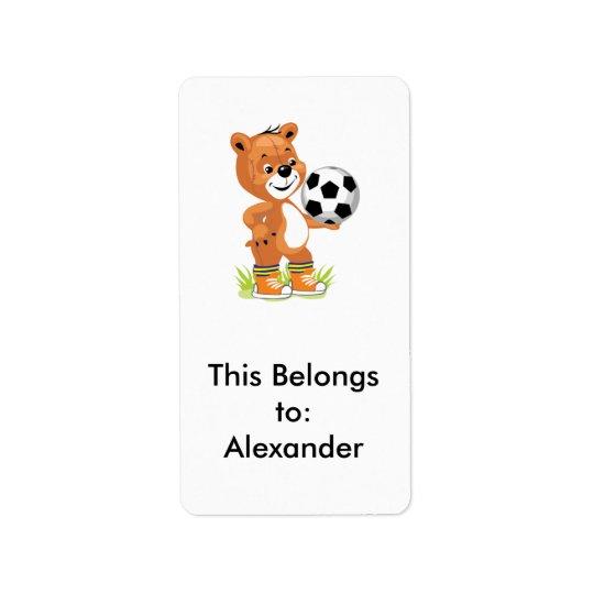 soccer player teddy bear cartoon graphic label