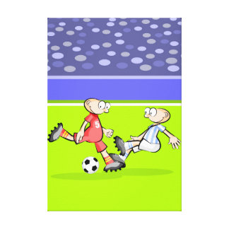 Soccer player trying to stop a play canvas print