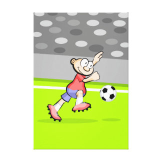 Soccer player with winner attitude canvas print