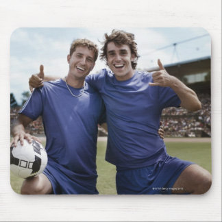 Soccer players cheering mouse pad