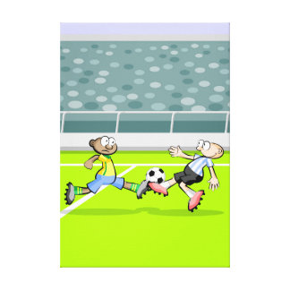 Soccer players gives to a fort trancazo canvas print