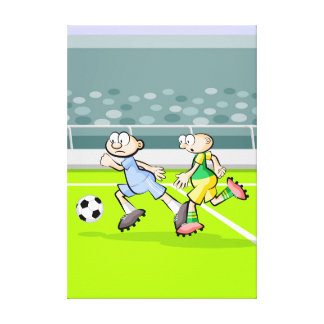 Soccer players running with the ball canvas print