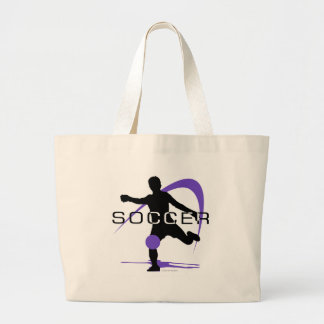 Soccer - Purple - Boys Large Tote Bag