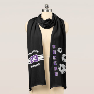 Soccer Purple Letter Personalize Scarf