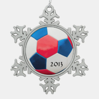 Soccer Red White and Blue Snowflake Pewter Christmas Ornament