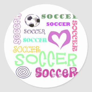 Soccer Repeating Classic Round Sticker