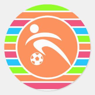Soccer; Retro Neon Rainbow Classic Round Sticker