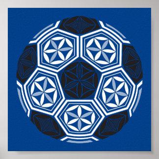 soccer sacred geometry blue poster