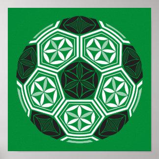 soccer sacred geometry green poster