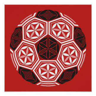 soccer sacred geometry red poster