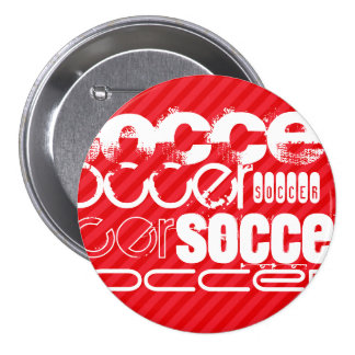Soccer; Scarlet Red Stripes 3 Inch Round Button