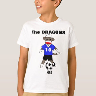 Soccer Sock Monkey T-Shirt (blue) - Customized
