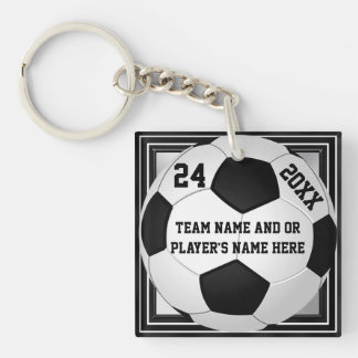 Soccer Team Gifts PERSONALIZED with 3 Text Boxes Keychain