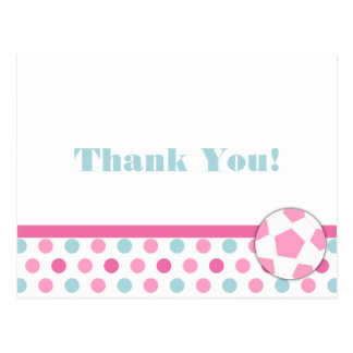 Soccer Thank You Card Postcard in Pink & blue