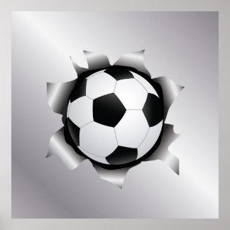 soccer thru metal sheet poster