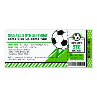 Soccer Ticket Pass Birthday Party Invitation