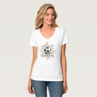 Soccer Tribal Sun Ladies Nano V-Neck T-Shirt