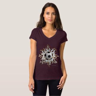 Soccer Tribal Sun Ladies V-Neck Jersey T-Shirt
