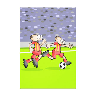 Soccer two players protect the ball canvas print