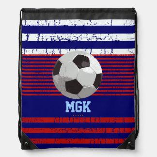 soccer U.S.A personalized Drawstring Bag