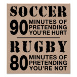 Soccer vs Rugby Poster