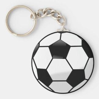 Soccerball Button Keychain