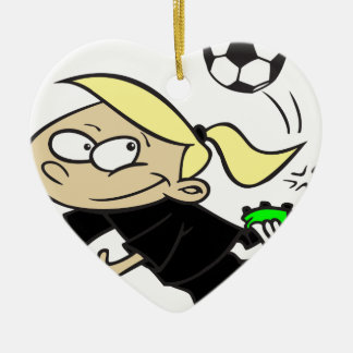 SOCCERGIRL BLACK BLONDE CERAMIC HEART ORNAMENT