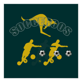 Socceroos soccer players Bend it Kangaroo gifts Poster