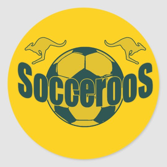 Socceroos world soccer Roos logo gifts Classic Round Sticker