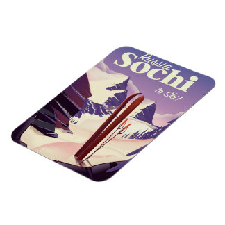 Sochi Russia Ski travel poster Rectangular Photo Magnet