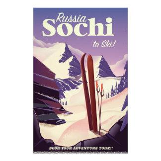 Sochi Russia Ski travel poster Stationery