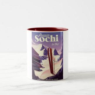 Sochi Russia Ski travel poster Two-Tone Coffee Mug