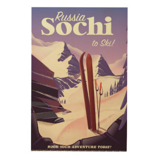 Sochi Russia Ski travel poster Wood Canvases