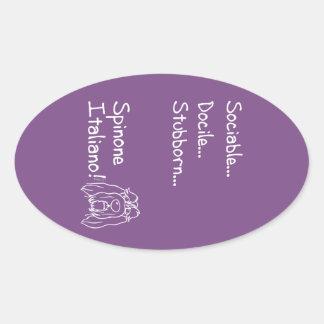 Sociable Spinone Oval Sticker