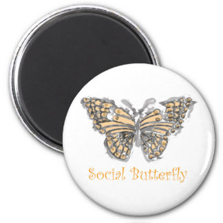 Social Butterfly 2 Inch Round Magnet