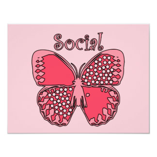 "Social Butterfly 4.25"" X 5.5"" Invitation Card"